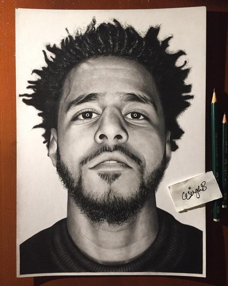 12-J-Cole-Gurekbal-Bhachu-Realistic-Celebrity-Portraits-Drawings