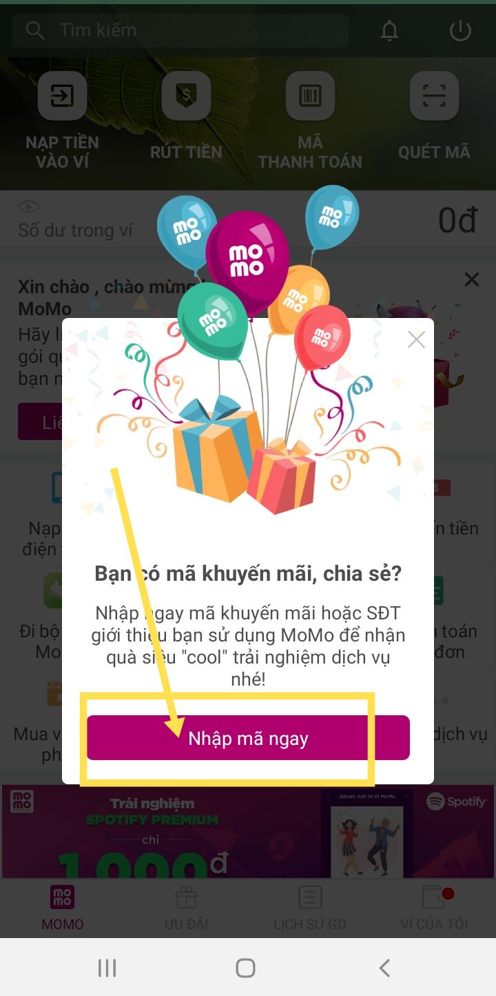 Nhập mã ưu đãi để nhận quà momo