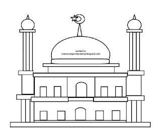 Gambar Sketsa Mewarnai Masjid Terbaru 201712