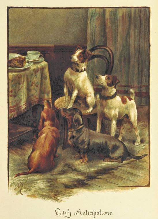"painting of 4 dogs looking at table with food ""Lively Anticipations"""