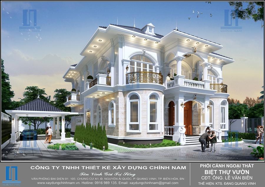 Mẫu biệt thự sân vườn một tầng mái Thái ở Phước Tân, Biên Hòa, Đồng Nai