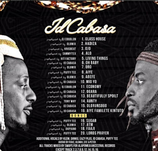 "9ice - album track list for ""Id cabasa"" album"