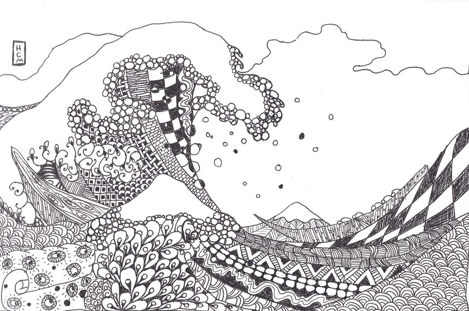 Tsunami wave coloring page sketch coloring page for The great wave coloring page