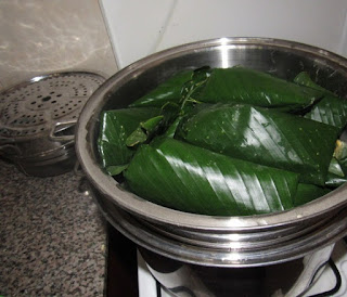 wrapped moin moin in a cooking pot