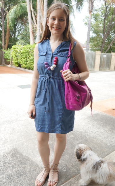 Jeanswest Rachel Lyocell chambray dress magenta pink accessories teething necklace Balenciaga day bag | AwayFromBlue