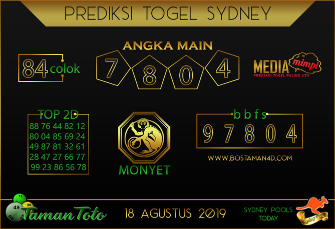 Prediksi Togel SYDNEY TAMAN TOTO 18 AGUSTUS 2019