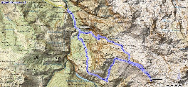 Mapa de la ruta a los Sedos de Ozania y Camperón