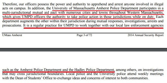 from 2014 annual security report by university of massachusetts at amherst police department umpd