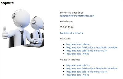 Página de soporte de Futuro Informática para el software de gestión y facturación de taller mecánico