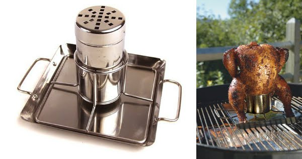 Steven Raichlen Best of Barbecue SR8016 Stainless-Steel Beer-Can Chicken Rack with Drip Pan
