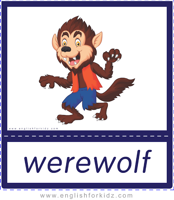 Werewolf - Printable Halloween flashcards