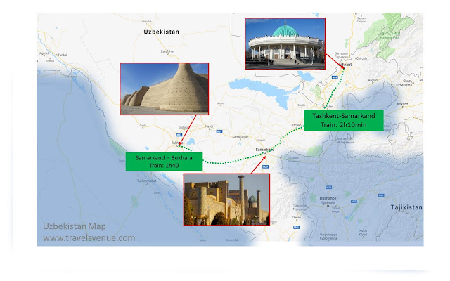 Tourist Map Tashkent Samarkand Bukhara