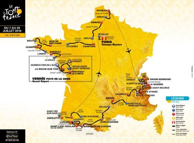 TOUR de France 2018 Tappa 7 Diretta TV Oggi Fougeres-Chartres: Analisi altimetria percorso, Video Streaming Rai.