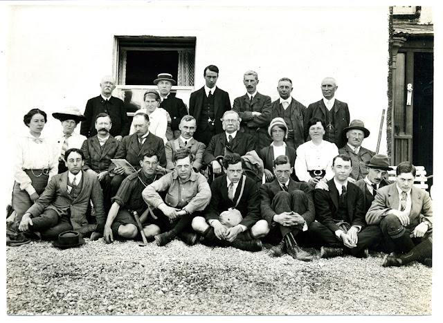 The 1914 Excursion. Photograph outside the Inchnadamph Hotel