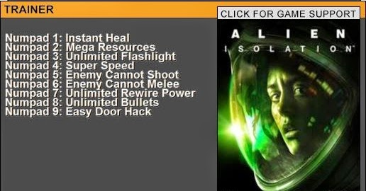 Cheat Happens Game Trainers: Alien: Isolation Trainer