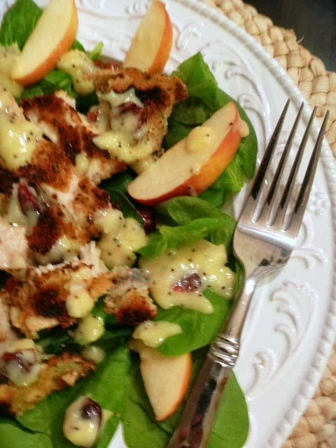 Apples, toasty walnuts, blue cheese, and a crispy chicken breast make up this wonder Fall or Autumn Salad - Slince of Southern