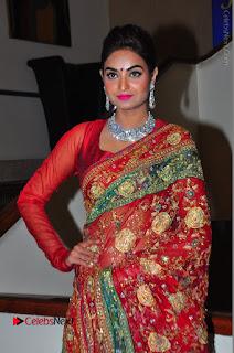Model Sharon Fernandes Stills in Red Saree at Trendz Exhibition Launch  0038.JPG