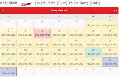 Giá vé máy bay TPHCM đi Đà Nẵng tháng 12