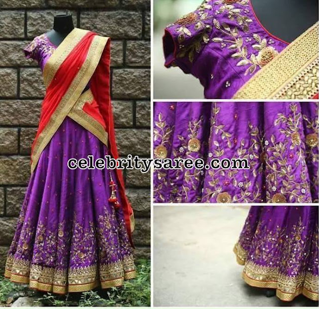 Purple Red Zardosi Half Sari