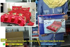Sprei Kintakun Luxury Extra Single 120×200 Cherry Berry Buah Bunga Merah Dewasa