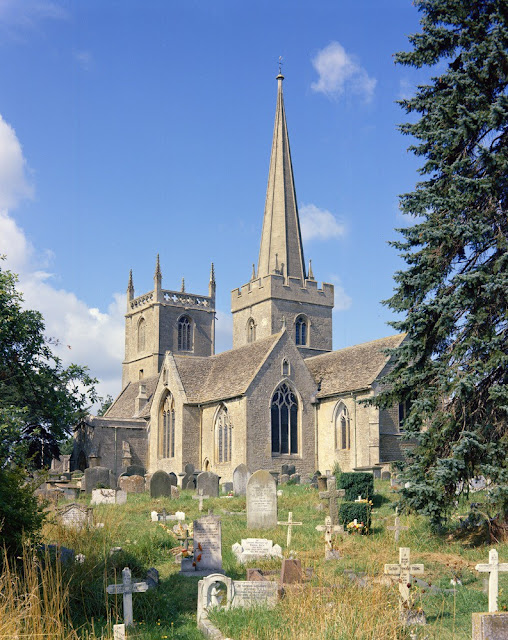 St Mary's Church, Purton, Wiltshire. Looking north-west. This Norman / Medieval church with its spire and crossing tower is constructed of Jurassic Coral Rag limestones.