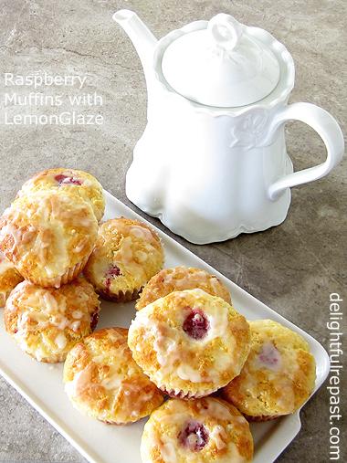 Raspberry Muffins with Lemon Glaze / www.delightfulrepast.com