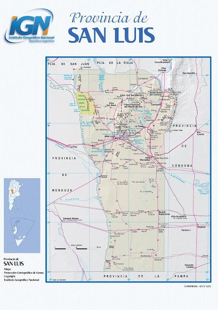 Mapa da província de San Luis - Argentina