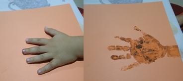 pintamos la mano, que hará de tronco del árbol