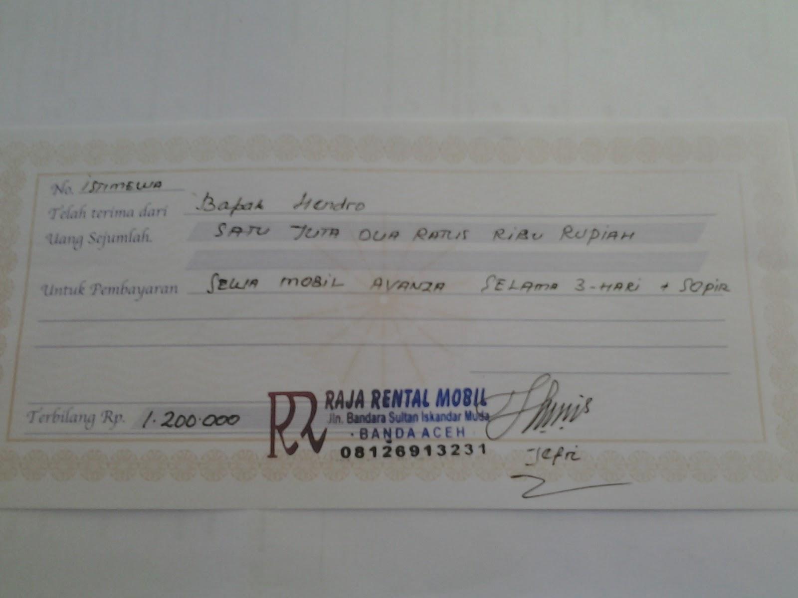 Rental Mobil Aceh Nota Pembayaran