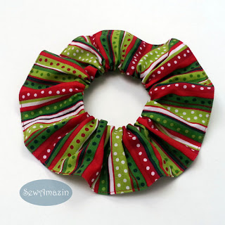 Christmas Dog Scrunchie Ruffle, red, green, stripes, dots