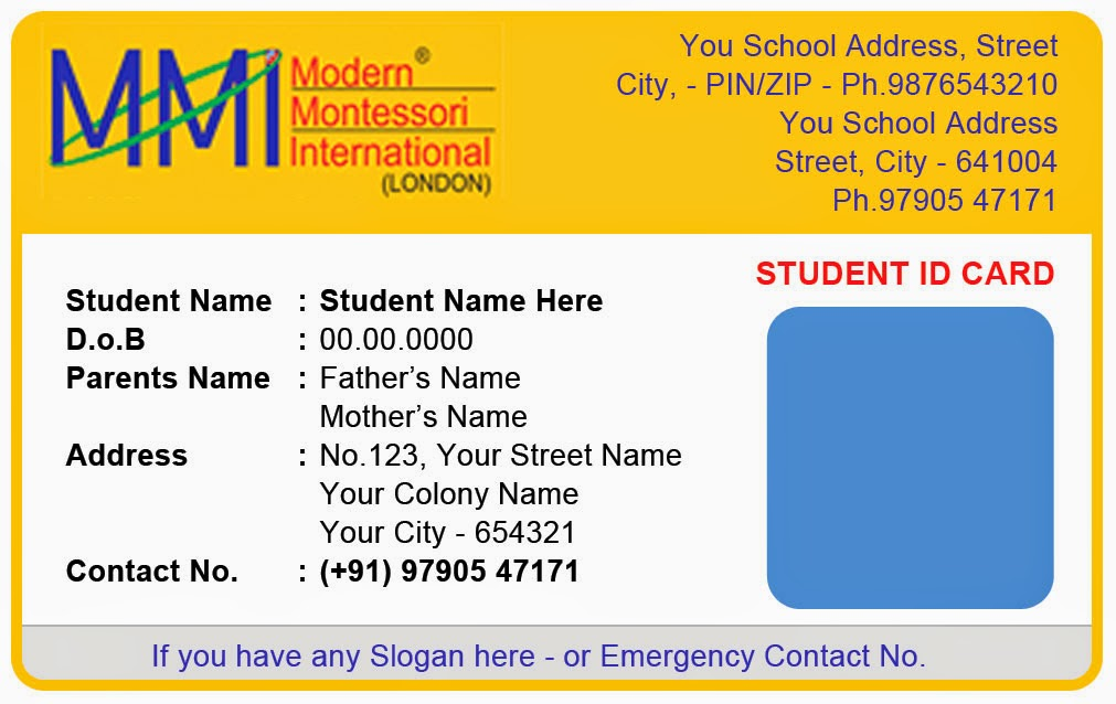 Template galleries montessory play school id card templates for School id badge template