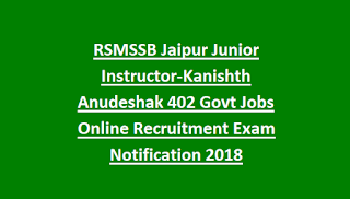 RSMSSB Jaipur Junior Instructor-Kanishth Anudeshak 402 Govt Jobs Online Recruitment Exam Notification 2018