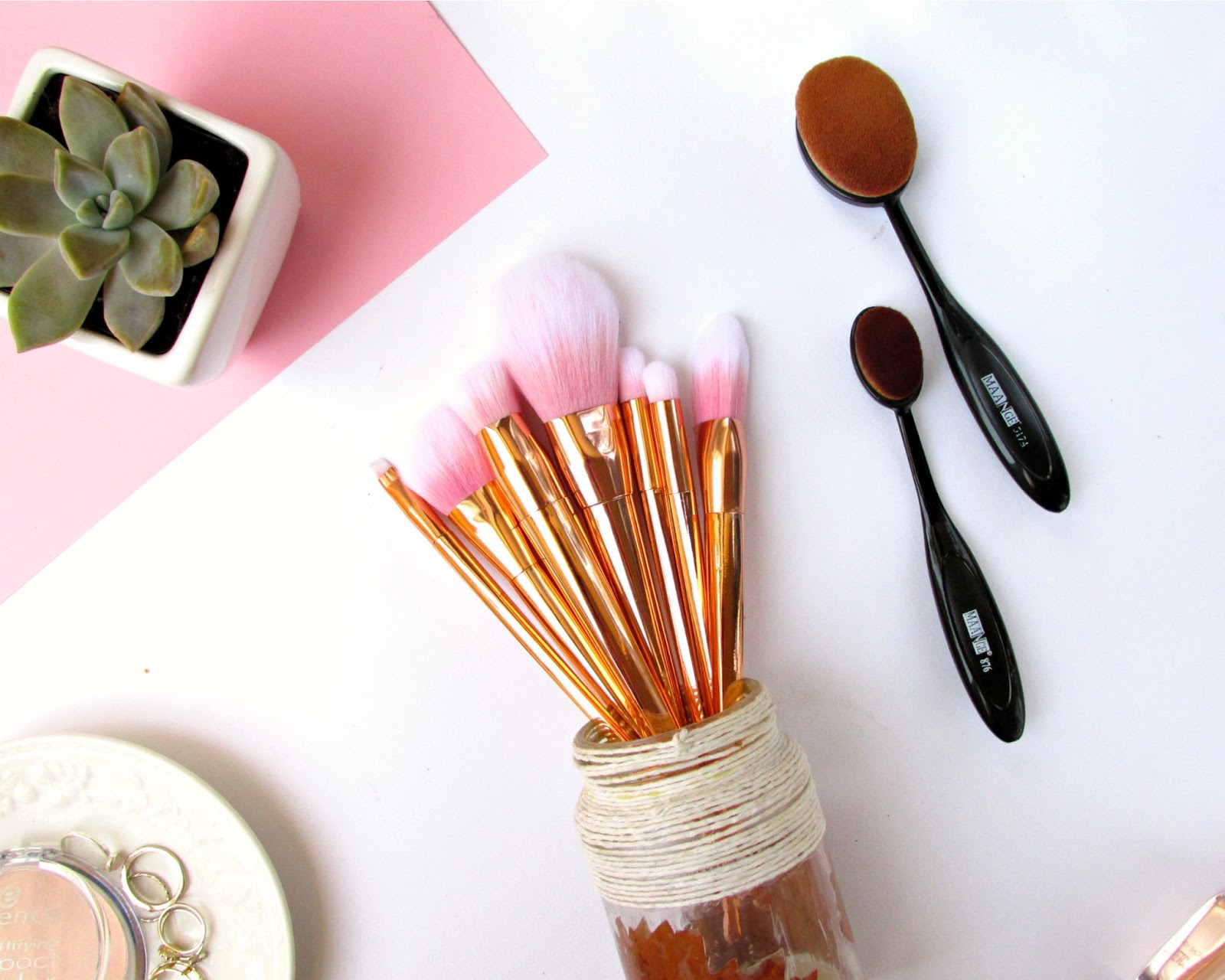 Makeup Brushes for Beauty Lovers on a Budget, rose gold brushes, oval brushes