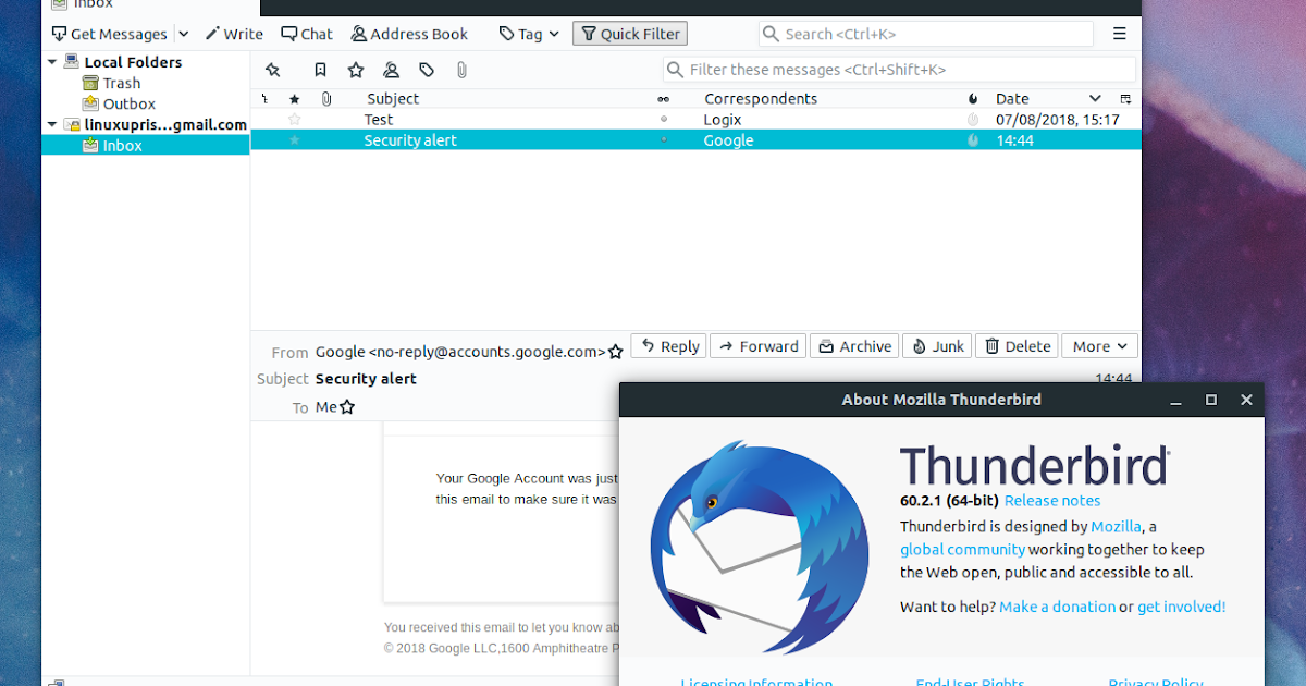 Install Mozilla Thunderbird 60 In Ubuntu Or Linux Mint From PPA