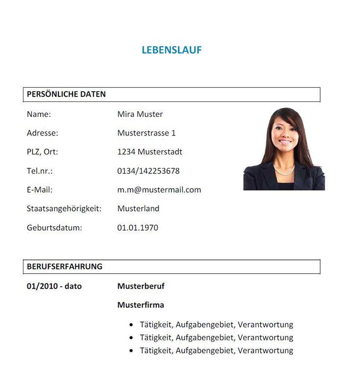 Lebenslauf Vorlage österreich Dokument Blogs