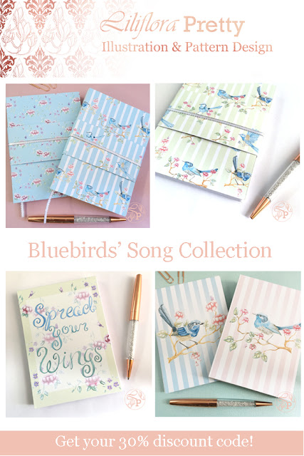 notebooks notepads bullet journal bujo dot grid rose gold pen bling blue bird inspiring quote watercolour illustration