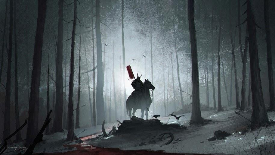 Samurai, Warrior, Forest, Art, Fantasy, 4K, #4.1032