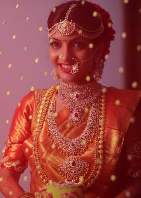 Bride in Royal Diamond Jewelry and Kasu Mala