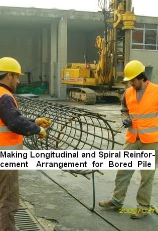 Making Longitudinal and spiral reinforcement arrangement for bored pile