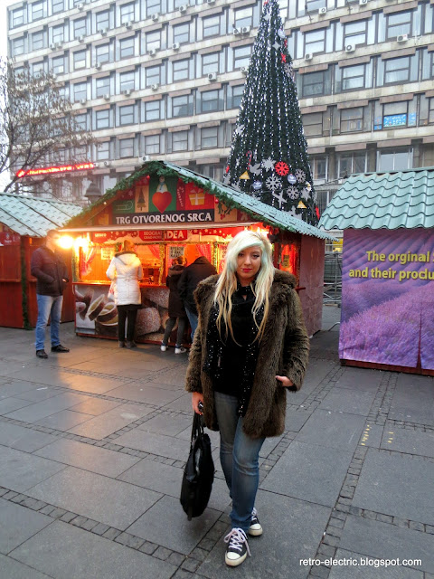 Belgrade Serbia Christmas market winter outfit fur coat