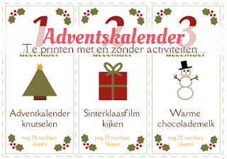 Printbare adventskalender met activiteiten - gratis download