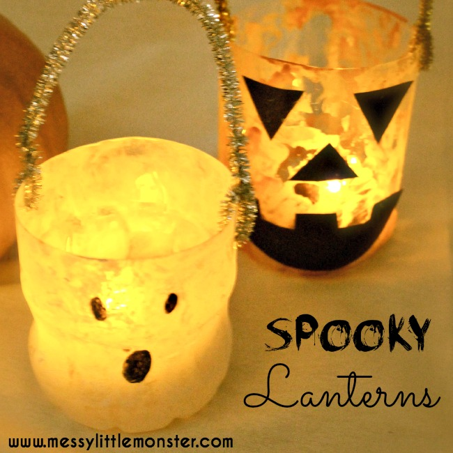 spooky plastic bottle halloween lanterns, recycled craft for kids