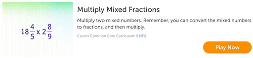 Multiplying mixed fractions game