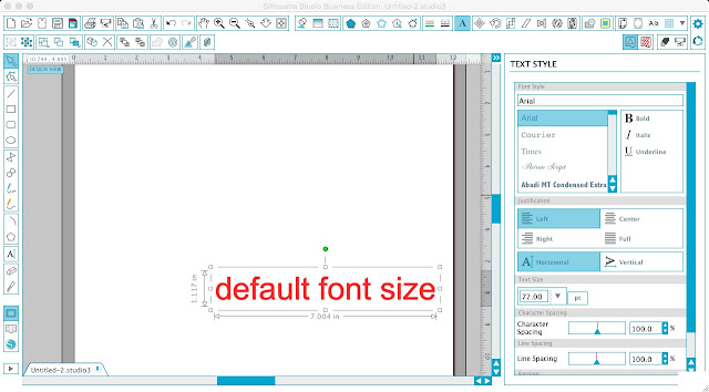 Silhouette Studio, Silhouette tutorial, Silhouette Cameo, changing default font size, font size