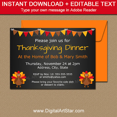 printable thanksgiving invitation by digitalartstar