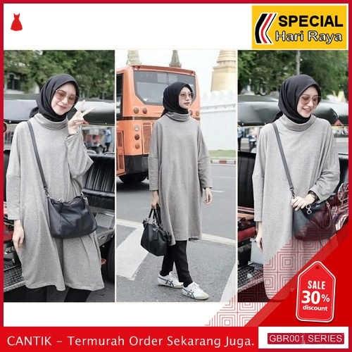 GBR001S195 Baju Sabyan Grey Tunik Turtleneck Arisya Lengan BMGShop