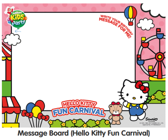Message board for Jollibee Party Theme - Hello Kitty Fun Carnival