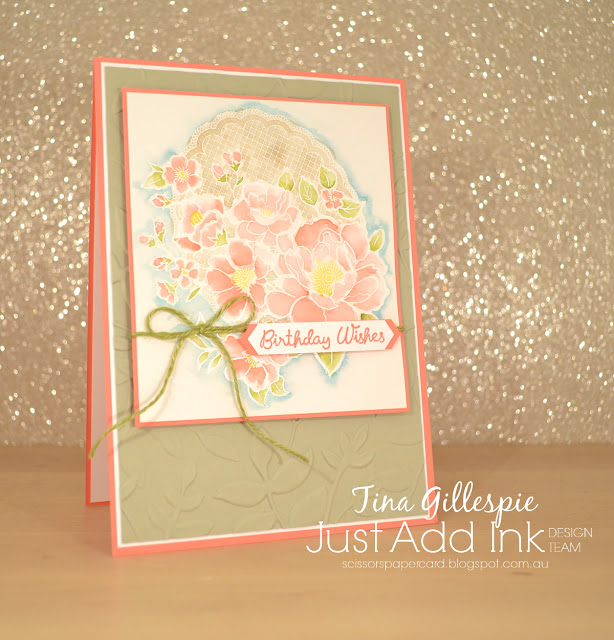 scissorspapercard, Stampin' Up!, Just Add Ink, Lovely Lattice, Varied Vases, Layered Leaves DTIEF, Watercolouring