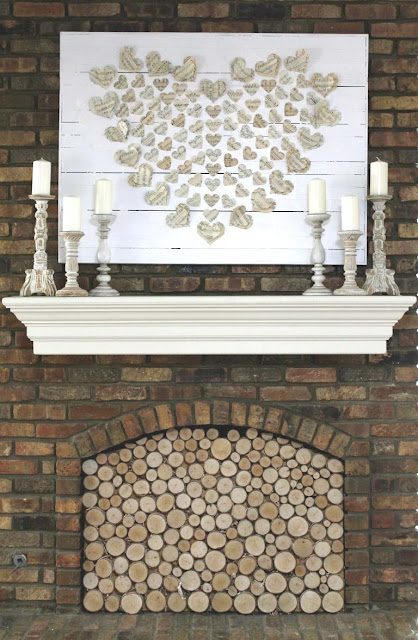 Valentine mantel decorating idea - heart art!