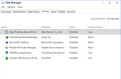 cara disable aplikasi di Startup windows 10